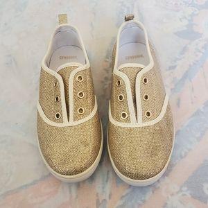 Gymboree. Girls Gold Glitter Tennis Shoes